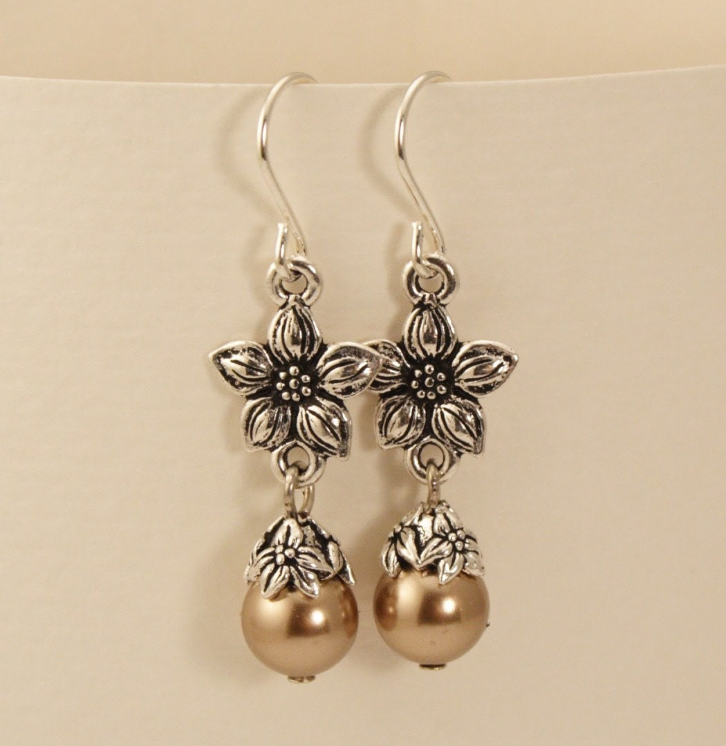 Antique Silver Jasmine Golden Bronze Pearl Earrings
