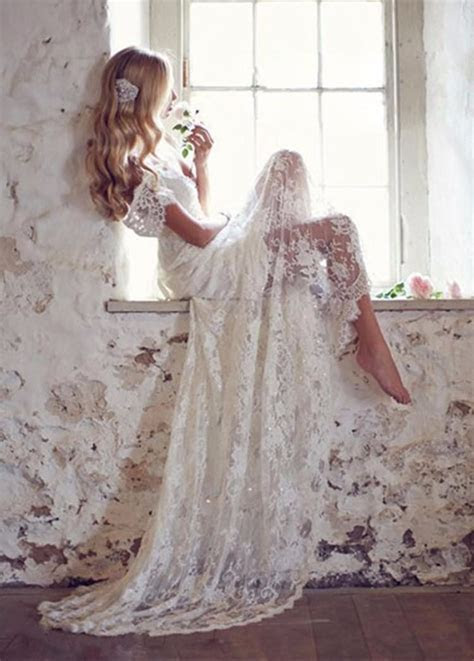 SE 34 Vintage Lace Wedding Dress With Cap Sleeves Beach