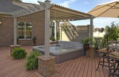 Back Yard with Hot Tub Deck Ideas