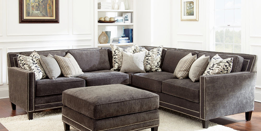 Stylish Gray sofa with Nailhead Trim Ideas - Modern Sofa ...