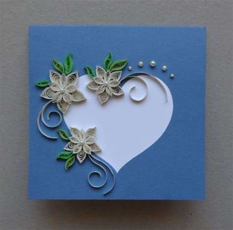 Quilled Wedding   handmade greeting card; paper quilling