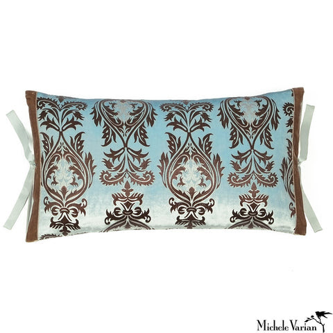 Printed Velvet Pillow Decadent Sapphire 12x22