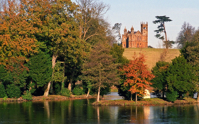 Landscape Gardens at Stowe, Buckinghamshire, UK | View of Gothic Temple across frozen lake | Colors of autumn (1 of 18)