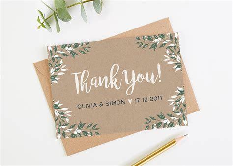 Botanical Rustic Kraft Wedding Thank You Cards   norma&dorothy