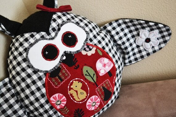Black and White Checkered Owl Plush with Hair Bow and Flower on Wing/ Huggable Toy/ Throw Pillow/ Baby Shower Gift/ Bedding Accessory
