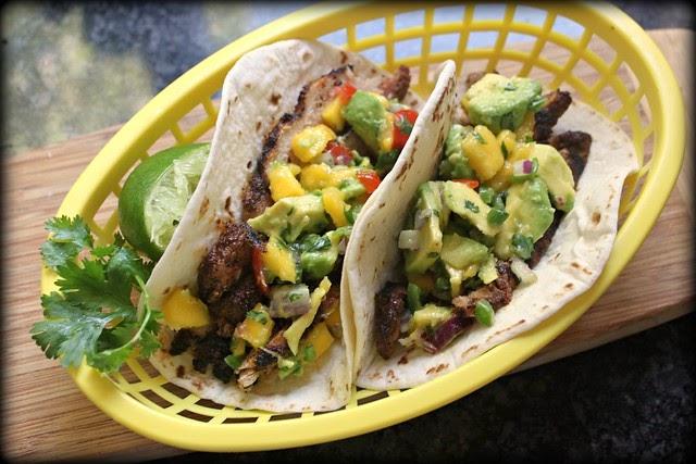 Kitchen Snaps: Grilled pork soft tacos with spicy avocado mango salsa