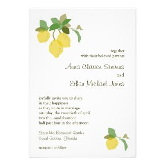 Tropical Citrus Wedding Invitation