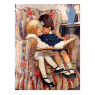 Reading Together Post Card