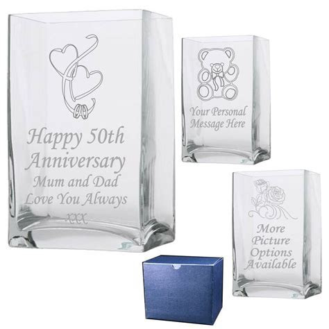 Engraved Rectangle Vase Silver Pearl Ruby Golden Wedding