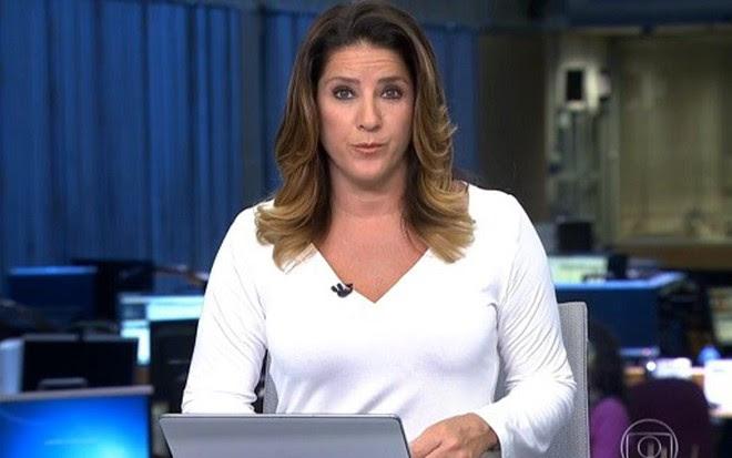 A jornalista Christiane Pelajo na bancada do Jornal da Globo da última terça (13) - Reprodução/TV Globo