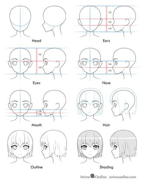 draw  anime girls head  face animeoutline