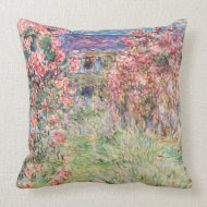 The House among the Roses, Claude Monet throwpillow