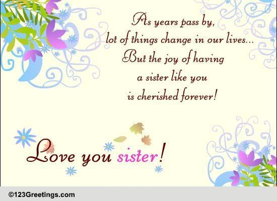 Love You Sister Free Sisters Day Ecards Greeting Cards 123