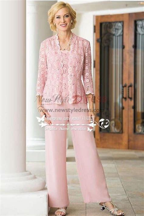 pc pink lace trousers set mother   bride pant suits