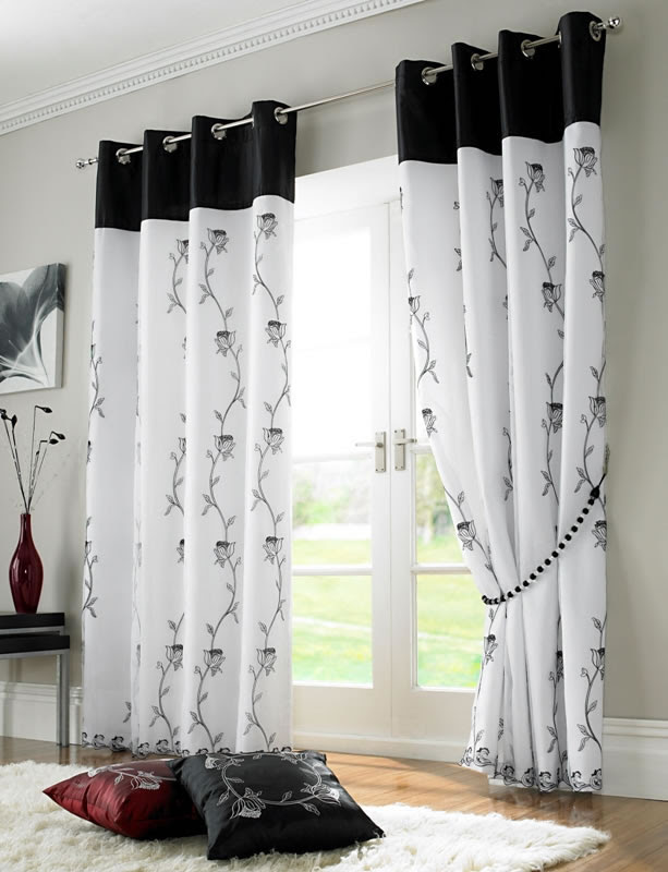 Tahiti Embroidered Voile Fully Lined Eyelet Curtains Black White