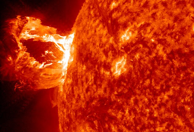 The sun unleashed a beautiful prominence eruption from its east limb (left side) on Monday, April 16, 2012. Here, the M1.7-class solar flare was seen by NASA's Solar Dynamics Observatory. (NASA/GSFC/SDO)
