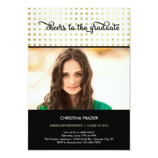 Elegant Golden Dots Photo Graduation Invitation