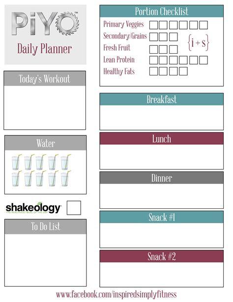 piyo meal planner printable  inspire tribe