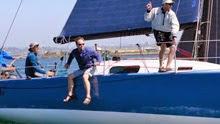 J/125 Hamachi sailing off start of San Diego Vallarta race