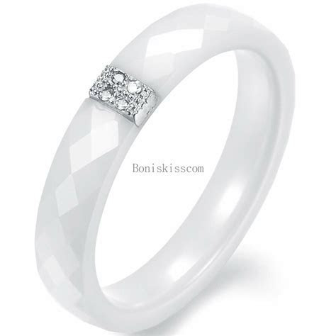 4mm White Ceramic Ring Anniversary Wedding Engagement Band