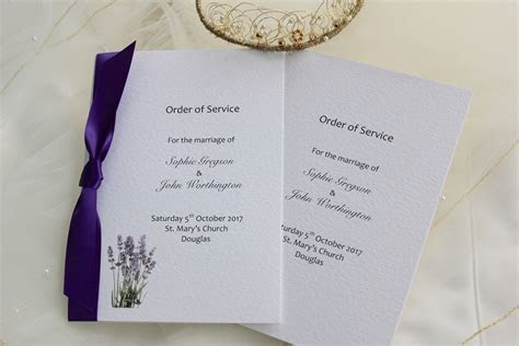 Lavender Order of Service Books for Weddings   Stationery
