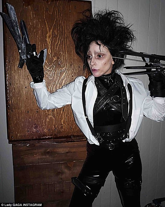 Cut up: She is an expert at pulling off bizarre, new looks. And Halloween was no different as Lady Gaga dressed up as Edward Scissorhands