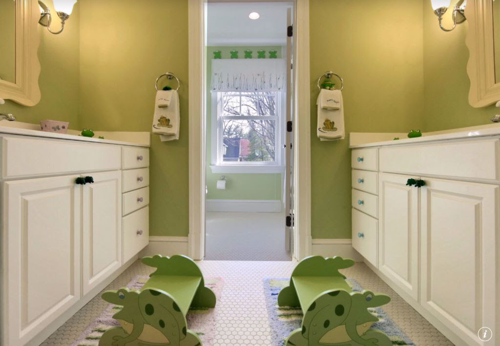 Traditional Kids Bathroom with penny tile floors, Corian counters, Raised panel, Scalloped Framed Mirror, Kids bathroom