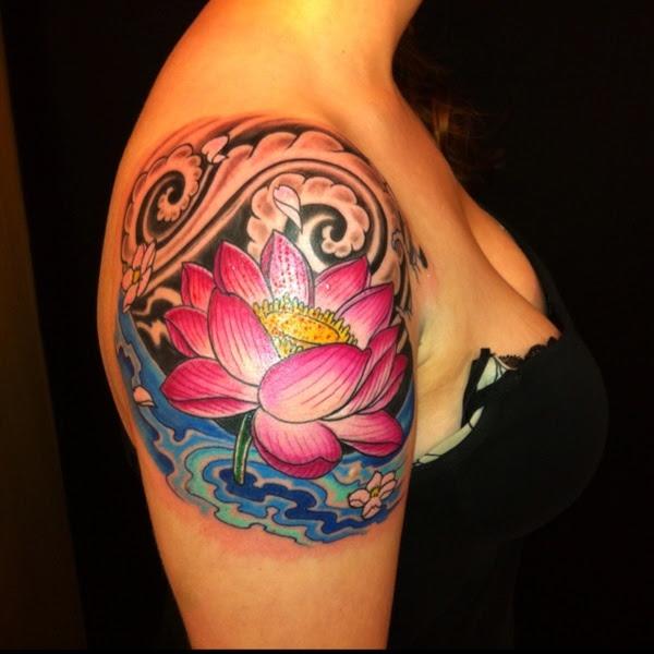 Right Shoulder Lotus Tattoo