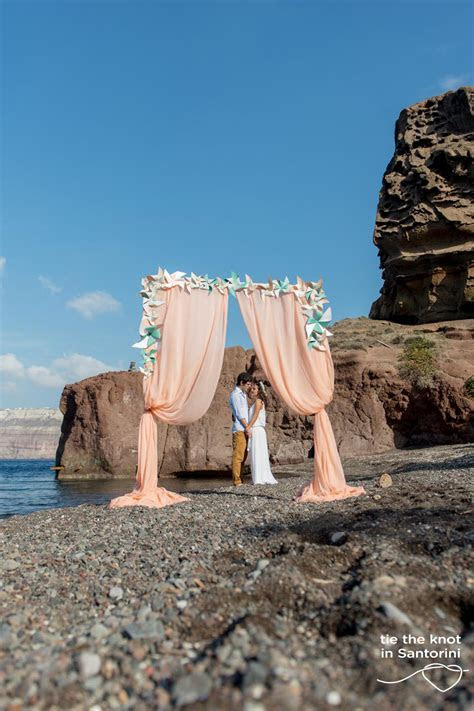 Wedding in Santorini   Whimsical beach wedding  Tie the