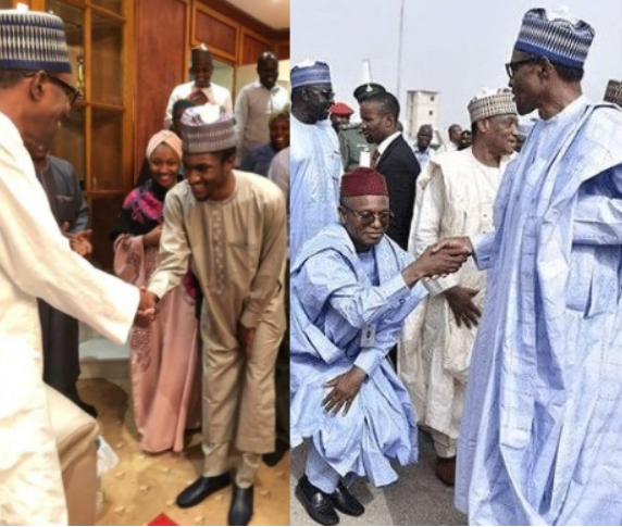 Side by side photo of Yusuf Buhari and Kaduna State Governor, Nasir El-Rufai greeting the president