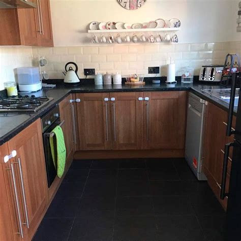 grey kitchen  diy fablon worktops