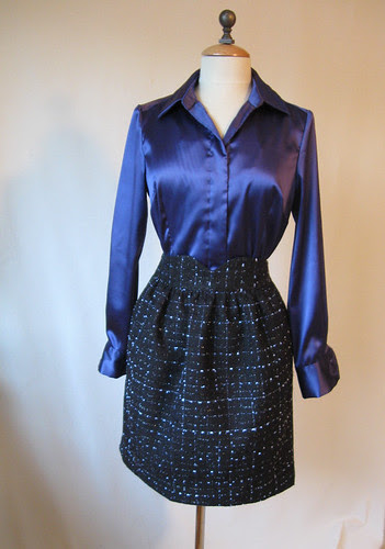 Blue silk blouse with skirt