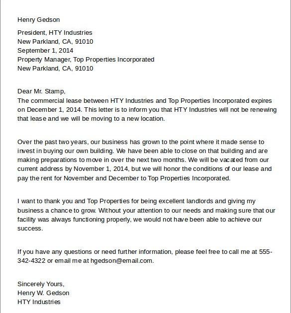 Sample Letter Breaking A Lease