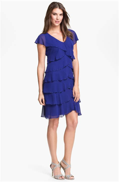 lyst patra embellished layered chiffon dress  blue