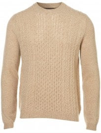 Topman Oat Elbow Patch Cable Knit Jumper