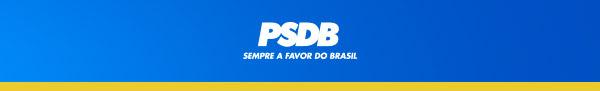 Sobre um fundo azul, logo do PSDB e lema Sempre a favor do Brasil\' embaixo.