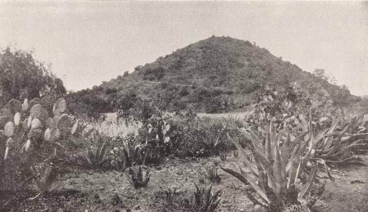 Costados oriente y norte de la Pirámide del Sol, antes de las exploraciones.