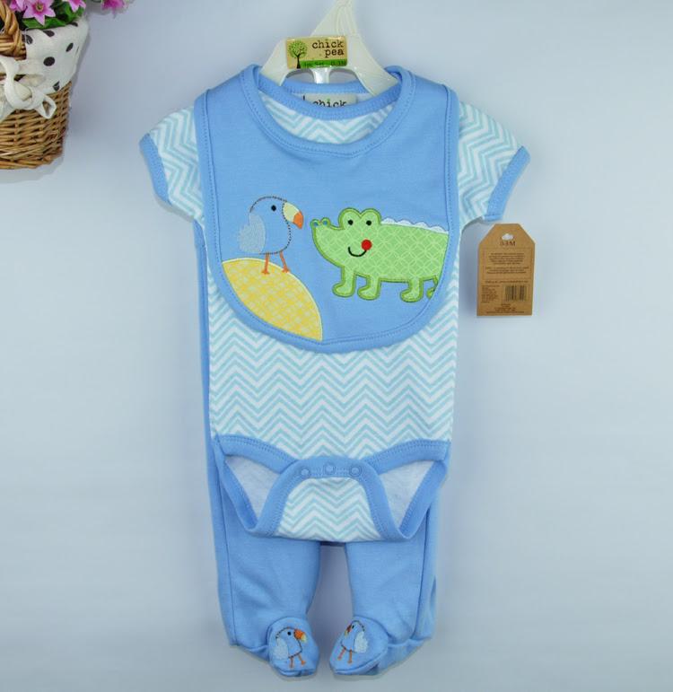 2015 Summer Hot Sale Baby Boy Clothing Sets Newborn Baby Cartoon elephant Sets Romper+Pants+bib