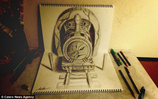 Japanese artist Nagai Hideyuki creates there realistic 3-D drawings just by using his pencils and sketchbooks