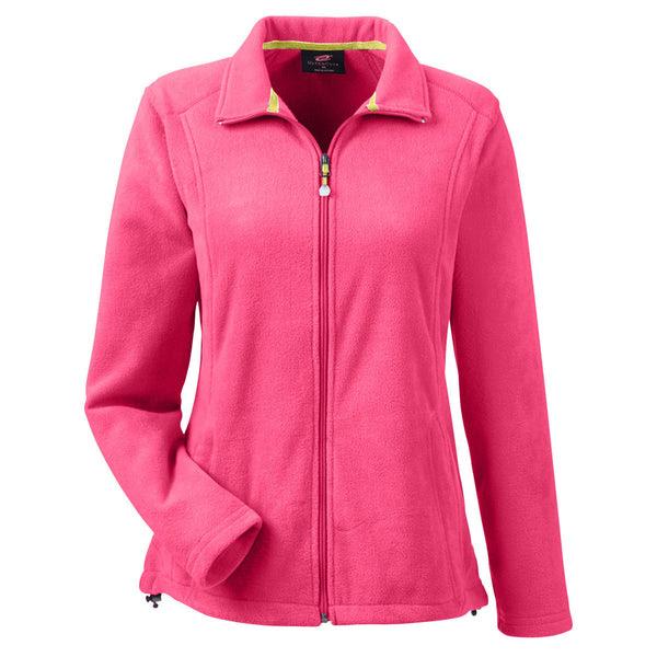 Ultraclub Women S Raspberry Microfleece Full Zip Jacket