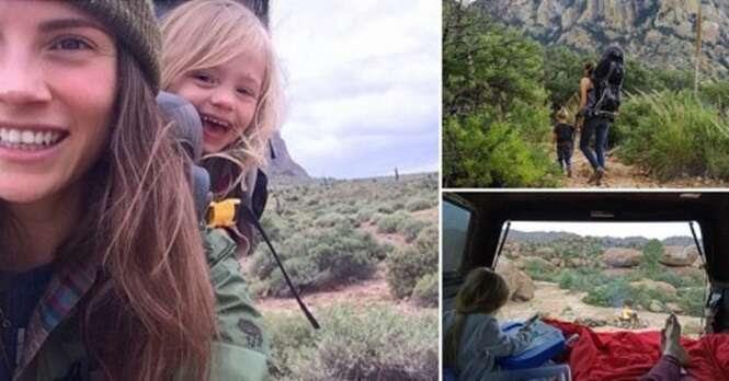 Esta mãe e sua filha de três anos exploram juntas as mais belas montanhas de seu continente