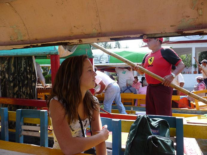 on the boat at Xochimilco