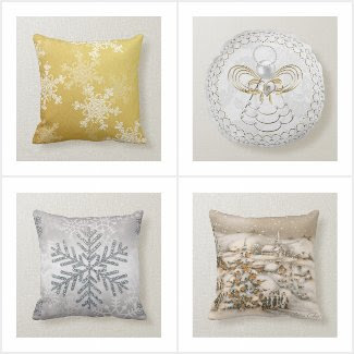 White Christmas Decor Pillows