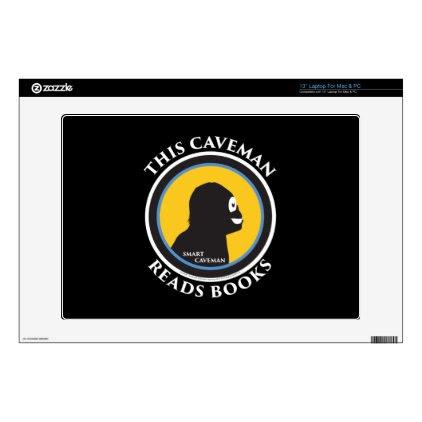 "13"" Laptop Mac/PC Skin Smart Caveman Reads Books 13"" Laptop Decal"