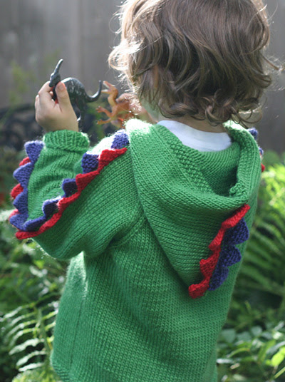 Free knitting pattern for Steggie Sweater dinosaur inspired hoodie