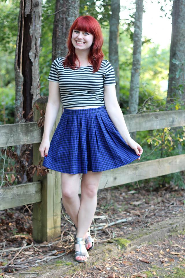 Striped crop top & houndstooth skater skirt