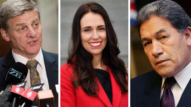 Incumbent New Zealand Prime Minister Bill English, left, Labour leader Jacinda Ardern, and kingmaker Winston Peters