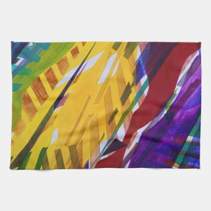 The City II - Abstract Rainbow Streams Hand Towels