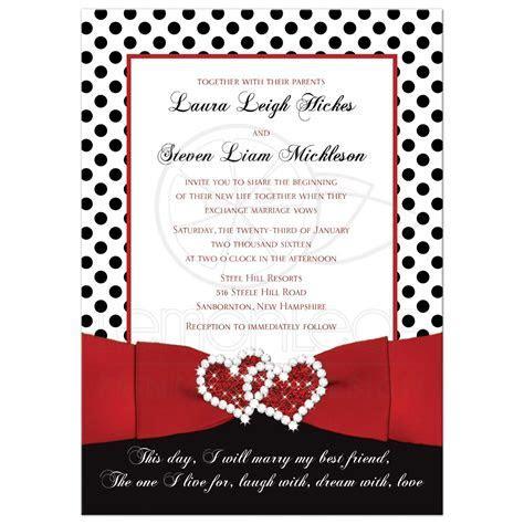 Wedding Invitation   Black, White Red   Polka Dots