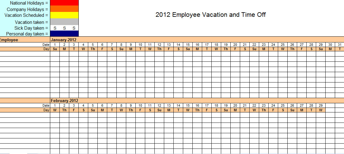 Employee Vacation Tracking Excel Template